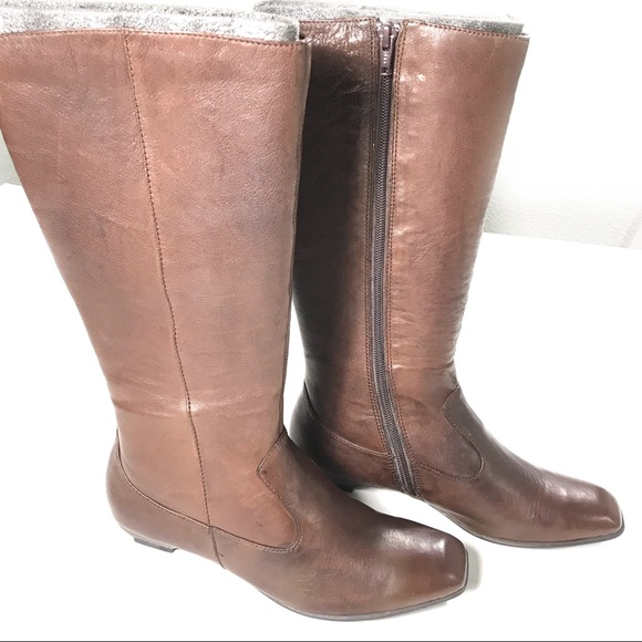 1892a94041f Born Shoes - BORN Brown Leather Tall Zip Up Boots Size 7 Wide